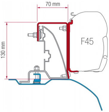 Fiamma F45 Awning Adapter Kit - Ducato H2 Roof Rail